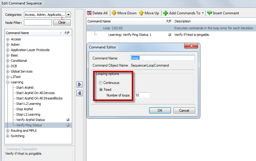 Spirent TestCenter: How to Setup STC Device to Continuously
