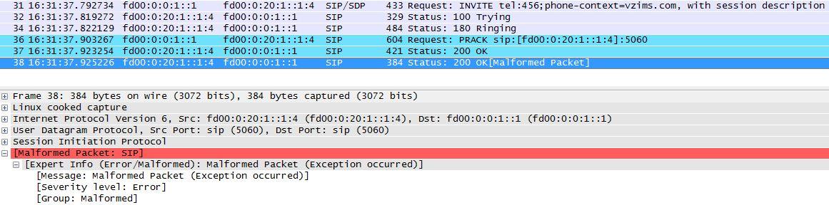 8100 LTE Radio Access: Known issue - Verizon IMS VoIP test